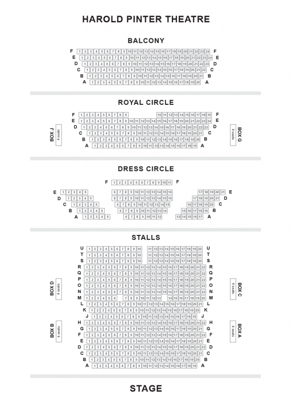 Harold Pinter Theatre seating-plan