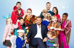 Danny Dyer as 'Hollywood Producer', Jo Brand as 'The Critic' and the Children of St Bernadette's School. Photo by Simon Turtle