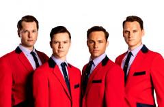 Adam Bailey (Bob Gaudio), Ben Joyce (Frankie Valli), Benjamin Yates (Tommy De Vito) & Karl James Wilson (Nick Massi), credit Darren Bell