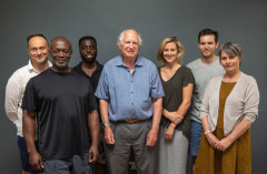 Antony Law (Director), Mensah Bediako (Kapenie), Alexander Matthews (Writer), Lucy Lowe (Oonagh), Suzanna Hamilton (Lady L) and Theo Bamber (Gordon). Photo by Mark Senior
